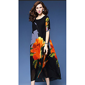 Women's Holiday / Going out Vintage / Street chic Loose A Line / Loose Dress - Floral 6129461