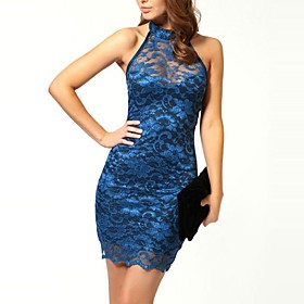 Women's Party / Club Street chic Bodycon Dress - Color Block Blue, Lace / Backless Mini Halter Neck / Sexy / Slim 6293987