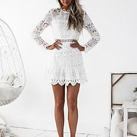 Women's Club Flare Sleeve Sheath Dress - Jacquard White, Lace 6493066
