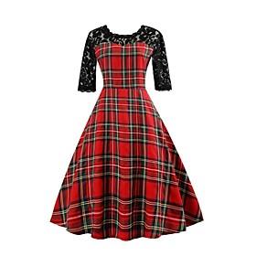 Women's Going out Vintage Cotton A Line Dress - Check Lace / Print 6885233