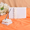 Wedding Guest Book and Pen Set With  Decorative White Silk Roses