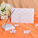 Check Design Wedding Guest Book and Pen Set With Rhinestones