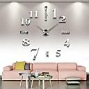 Image of grande orologio da parete fai da te frameless, moderno orologio da parete 3d con numeri specchio adesivi per decorazioni home office regalo (argento)