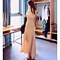 Women's Sexy Deep V Neckline Modal Maxi Dress with Shoulder Pad 6160