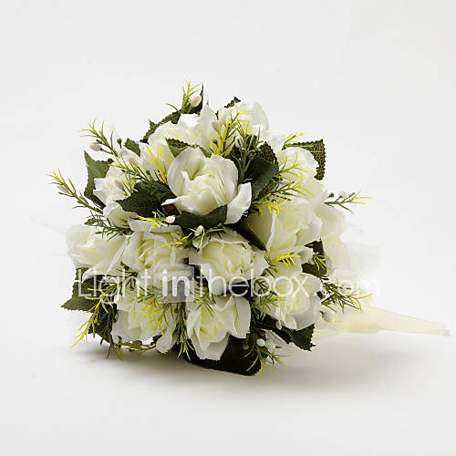 round wedding bouquet pretty shape ivory satin wedding bridal bouquet 7144