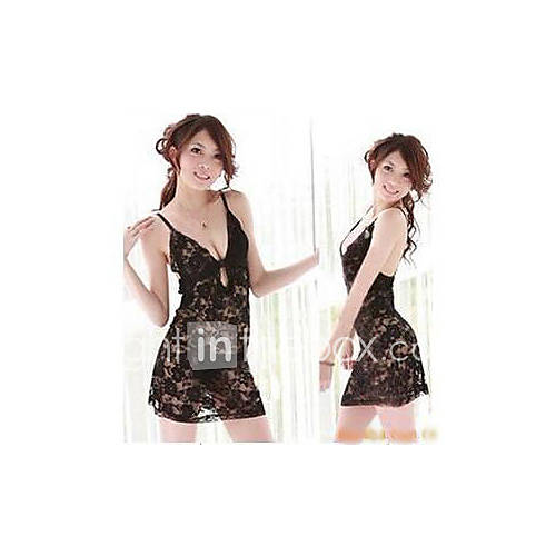 Womens Black Sexy Lace Lingerie Dress with T back