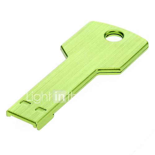 Key Shaped Metal USB Flash Drives 4G(Green)