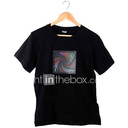 Rotation Type Music Sound Activated Luminous LED Equalizer T Shirt Short Sleeve