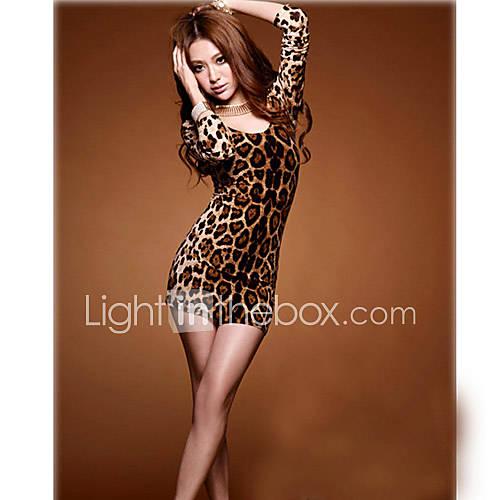 Womens Sexy Leopard Backless Dress