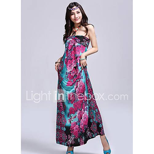 TS Bohemia Floral Print Slim Halter Beach Maxi Dress(Random Prints)