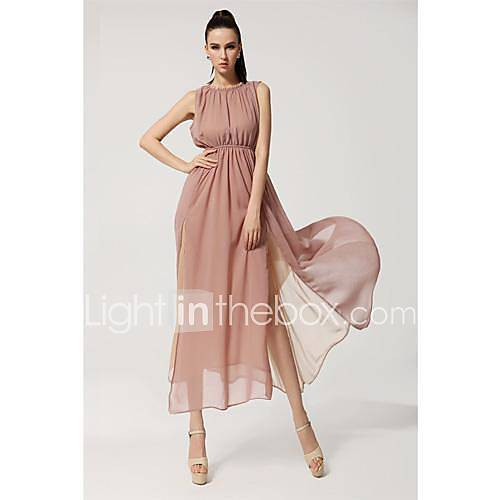 Womens Bohemian Beach Dress Split Halter Strap Chiffon Dress