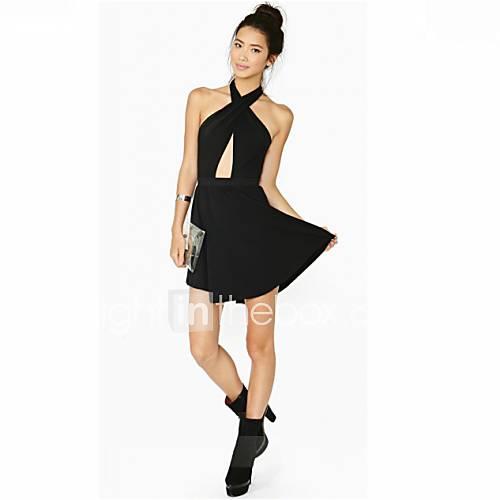 Womens Sexy Halter Backless Dress