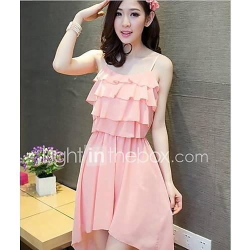 MUH Sexy Irregular Hem Chiffon Dress(Pink)