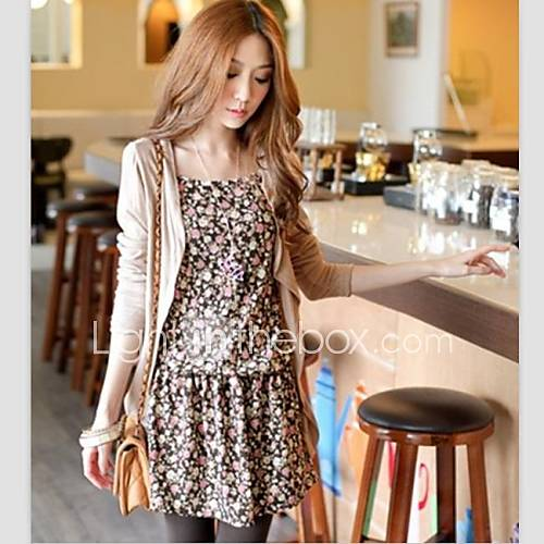 Womens Strap Floral Dress with Cardigan