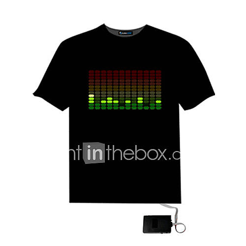 Mens Sound Activated Light Up And Down DJ Disco Dancing LED EL T Shirt