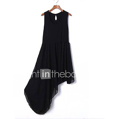 Yishabeier Fashion New Hypotenuse Irregular Skirt Dress(Black)