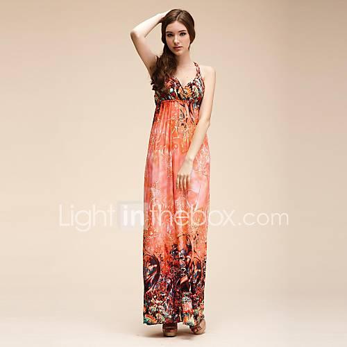 Maya Womens V Neck Bohemian Print Maxi Straps Beach Dress