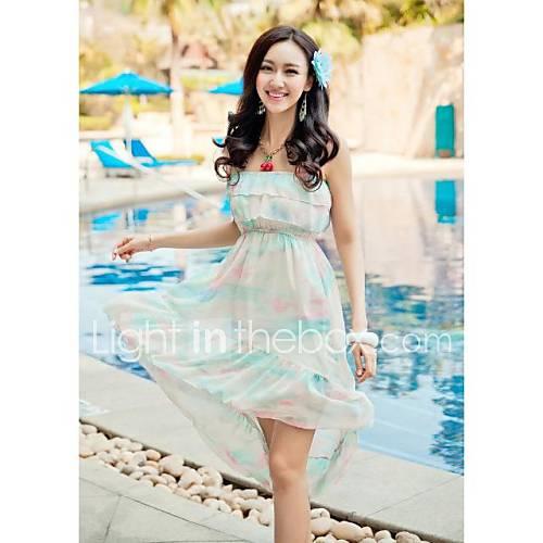 Womens Sleeveless Bohemian Colorful Strap Beach Dress