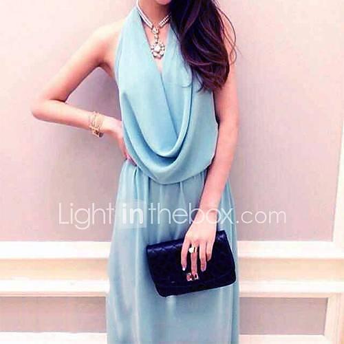Womens Spring New Backless Chiffon Halter Long Dress