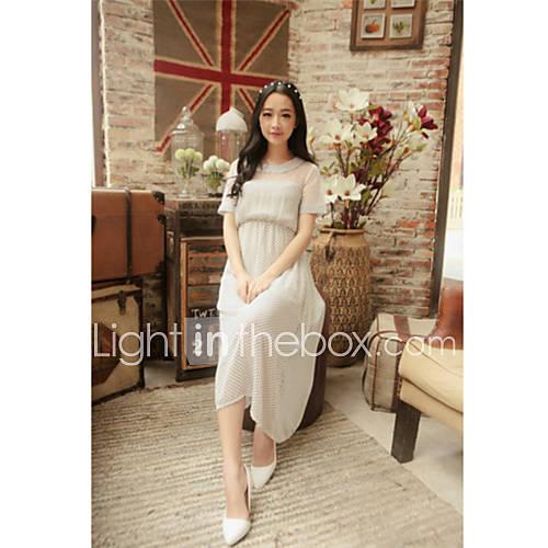XiXi Womens Wavepoint Printing Chiffon Slim Bohemia Dress(White)