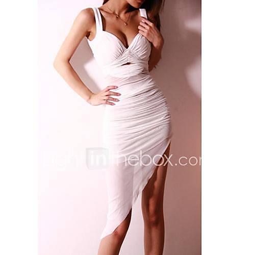 Womens Sexy Nightclub Condole Hollow Out Irregular Skirt Dress