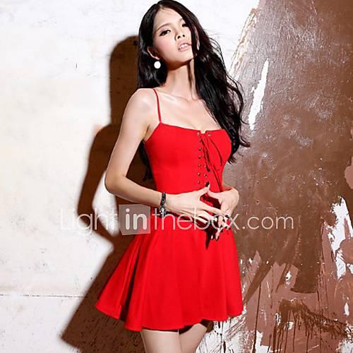 Xuanran Womens Strap Red Dress