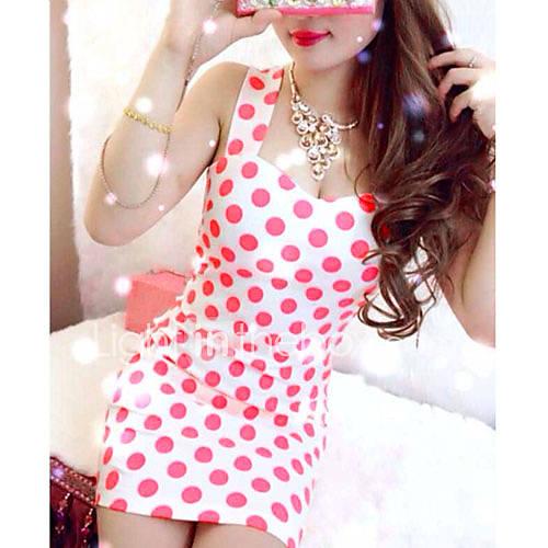 Womens Strap Polka Dots Sexy Sweet Backless Dress