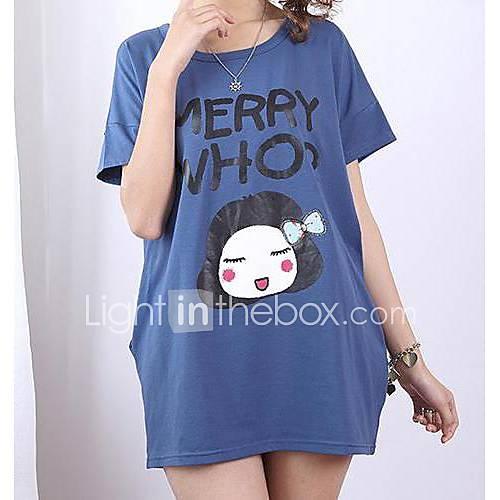Womens Fashion Loose Cute Bow Girl Print Short Sleeve T Shirt