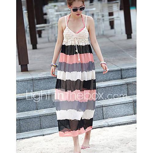 Womens Korean Style Seaside Resort Strap Beach Dress