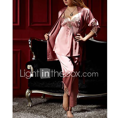 Three Classic Pijamas Piezas de la Mujer con la cuerda