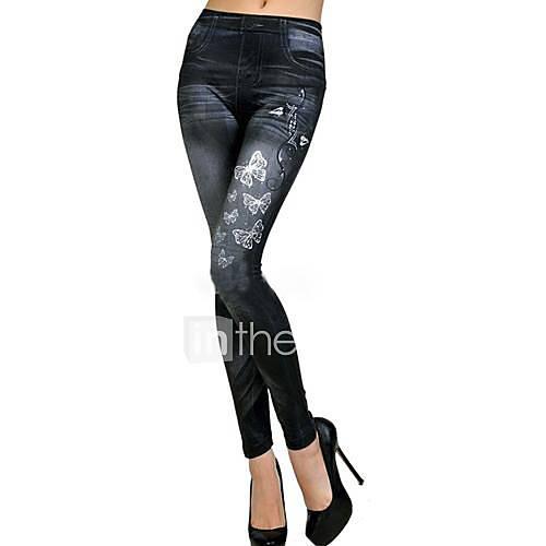 mariposa elástica pantalones vaqueros de imitación de impresión polainas de las mujeres