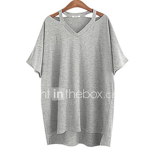De las mujeres Simple Casual/Diario / Tallas Grandes Verano Camiseta,Escote en Pico Un Color Manga Corta Algodón Blanco / Negro / Gris