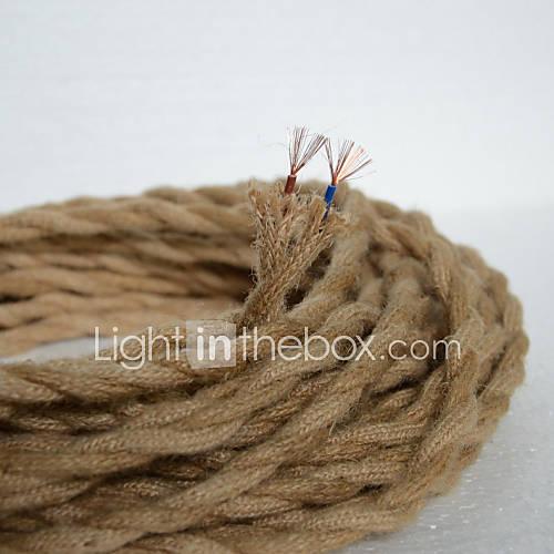 (50m / lot) 2  0,75 antiguos doble trenzado de cuerda de cáñamo cable eléctrico cable de luz colgante de la vendimia de punto luces