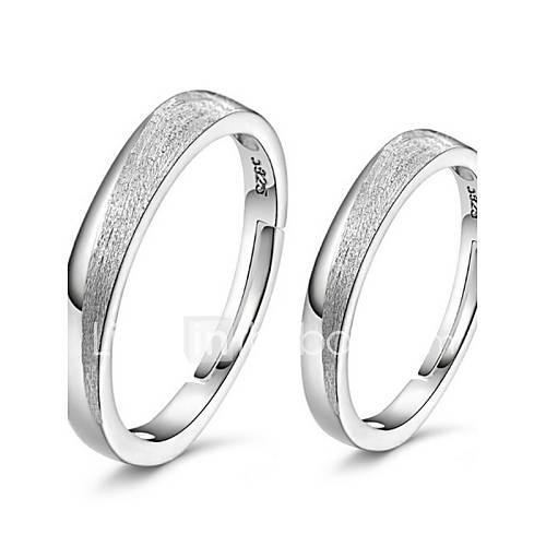 adjustable wedding ring 2pcs sterling silver ring frosted rings adjustable 1209
