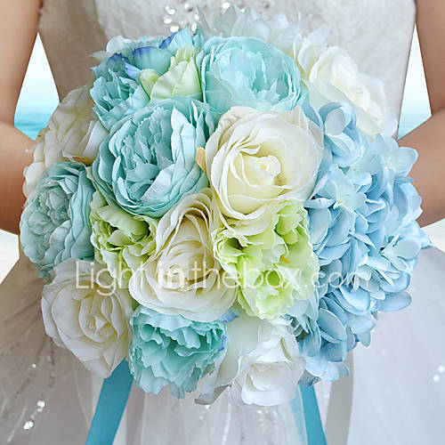 beach wedding flowers sea blue occean turquoise bouquet seaside satin 1587