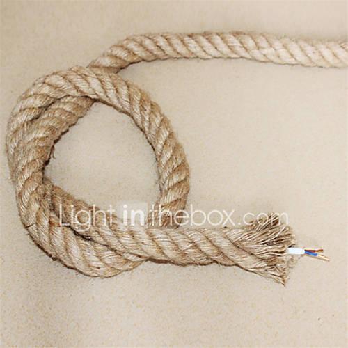 (10m / lot) 2  0,75 antiguos doble trenzado de cuerda de cáñamo cable eléctrico cable de luz colgante de la vendimia de punto luces